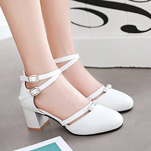 Redondas Todo Rosa Hebilla Bolso Y Sandalias ZHUDJ Beige Joven Pink Huecas Zapatos Viento Princesa La Negro Zapatos Match Señoras Verano Con wAHqx847q