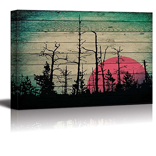 Illustration of Silhouetes of Trees as the Sun Rises Over Wood Panels