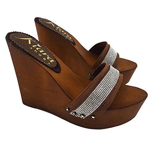 kiara shoes Brown Clog Wedge Woman Heel Height 13 cm-KZ32011 Marrone 3is3xBE78M