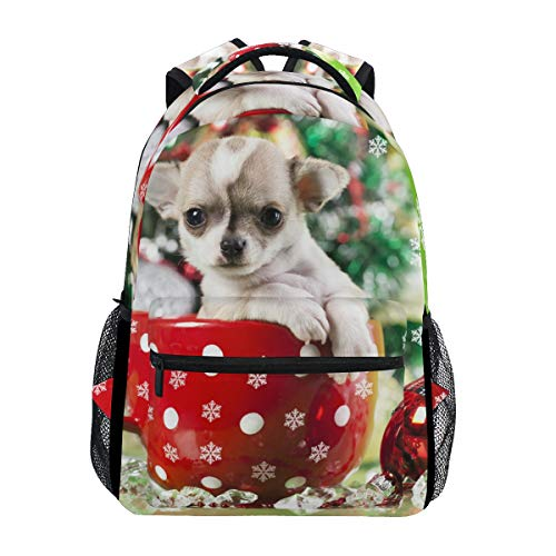 Fashion School Backpack for Girls Boys Causul Daypack Travel College Bookbag for Women & Men Christmas Dog Cute Tiny Teacup Poodle Print Schoolbag