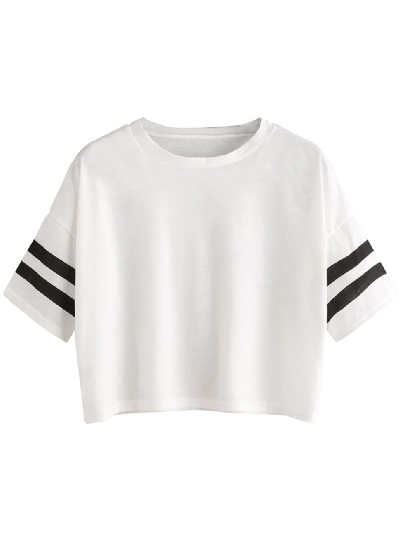 MakeMeChic Women's Short Sleeve Oversized Striped Summer Crop Tee T-Shirt Top White S