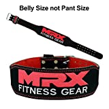 MRX 4″ Leather Weight Lifting Belt Gym Training Back Support Fitness Exercise Bodybuilding Black/Red (X-Large) Review