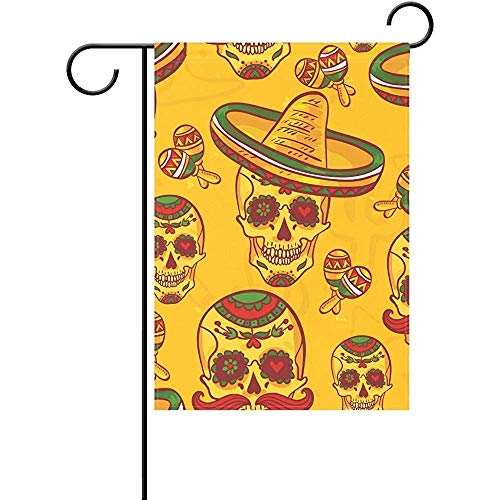 Sophen Personalized Happy Halloween Skull Decor Garden Flag 12 x 18 inches,Fade-Proof