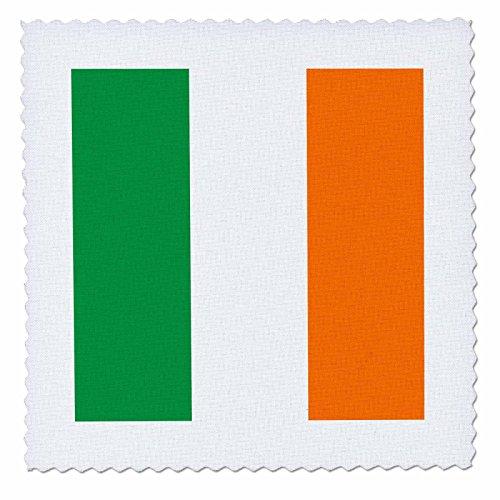 3dRose InspirationzStore Flags - Flag of Ireland - Irish green white orange vertical stripes United Kingdom UK world country souvenir - 10x10 inch quilt square (qs_158340_1)