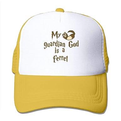 c36bb3b7f75 My Guardian God is A Ferret Mesh Trucker Caps Hats Adjustable Unisex ...