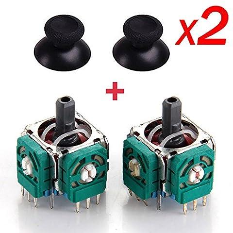 2x Replacement 3D Sensor 3D Joystick and Thumb stick for Playstation4 PS4 Controller With 2x Thumb - Sensor Controller