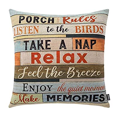 """TRENDIN Square Pillow Cover - 18 X 18 Inch Decorative Throw Pillowcase, Porch Rules PL240TR - BRAND: TRENDIN CREATIVE DESIGN: A great gift to your room decoration! this should be a perfect addition to your sofa, you also can put it in your bedroom, guest room, living room for a truly personalized style. DIMENSIONS: Approx.18""""x18"""" (or 45x45cm), perfectly fit for 18""""x18"""" pillow, there is 1-2 cm deviation in size because pillow cover are all handmade. - patio, outdoor-throw-pillows, outdoor-decor - 51z2y0o9N0L. SS400  -"""