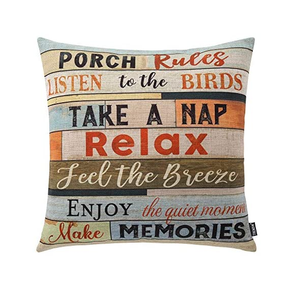"""TRENDIN Square Pillow Cover - 18 X 18 Inch Decorative Throw Pillowcase, Porch Rules PL240TR - BRAND: TRENDIN CREATIVE DESIGN: A great gift to your room decoration! this should be a perfect addition to your sofa, you also can put it in your bedroom, guest room, living room for a truly personalized style. DIMENSIONS: Approx.18""""x18"""" (or 45x45cm), perfectly fit for 18""""x18"""" pillow, there is 1-2 cm deviation in size because pillow cover are all handmade. - patio, outdoor-throw-pillows, outdoor-decor - 51z2y0o9N0L. SS570  -"""