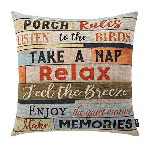 TRENDIN Square Pillow Cover – 18 X 18 Inch Decorative Throw Pillowcase, Porch Rules PL240TR