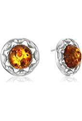 Honey Amber Sterling Silver Round Stud Earrings