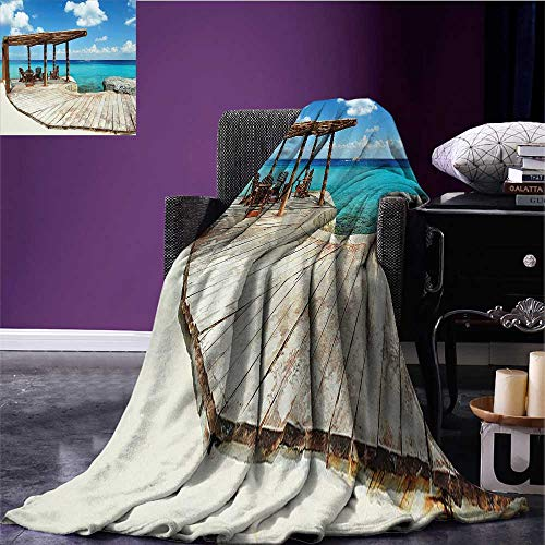 (sunsunshine Coastal Digital Printing Blanket Wooden Terrace Next to Beach with Vivid Blue Water Veranda Exotic Ocean Photo Queen Size Blanket Brown Aqua Blue Bed or Couch 70