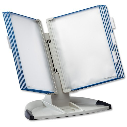 Tarifold Office Desk Display Stand With 5 Clip-On Index Tabs And 10 Pockets A4 Blue Ref 734301