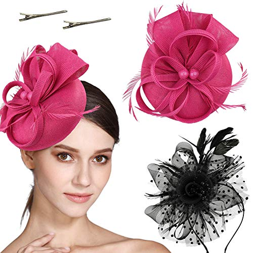 (Fascinators Hat Flower Mesh Ribbons Feathers on a Headband and a Clip Tea Party Headwear for Girls and Women (Black+Rose Red))