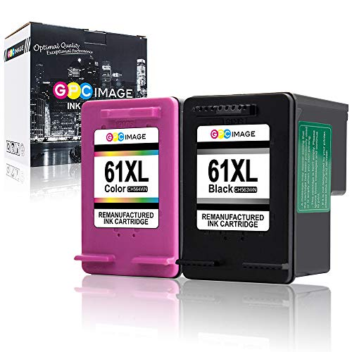 GPC Image Remanufactured Ink Cartridge Replacement for HP 61XL 61 XL High Yield to use with Envy 4500 5531 5530 Deskjet 1010 3050A 1056 3510 2540 Officejet 4635 4630 4632 Printer (2-Pack)