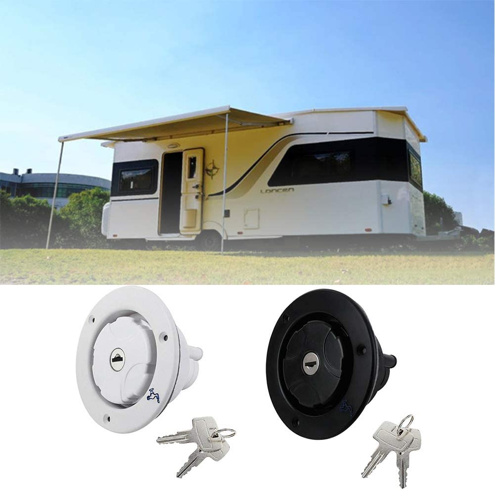 ZDYS Water Inlet,Stainless Steel Gravity Water Inlet Filler Cap with 2 Keys,Retrofit Leak Proof Caravan Locking for Camping Trailer Gravity Motorhome