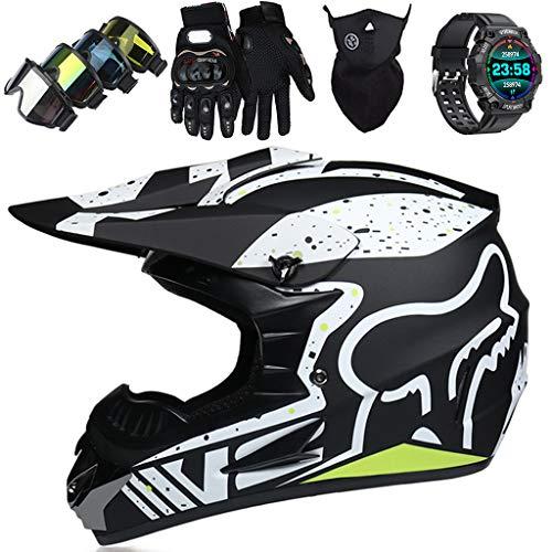 Kinder Motocross Helm 5~16 Jahre, Sicherheitsstandard ECE 22.05 / mit Fox Design Erwachsenen Motorradhelm für Downhill…