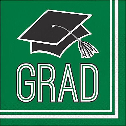 Creative Converting 360 Count School Spirit Paper Lunch Napkins for Graduation Party, Emerald Green