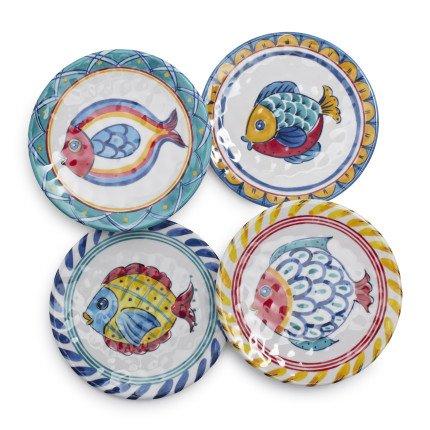 Sur La Table Positano Fish Melamine Appetizer Plates, Set of 4