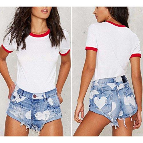 Pantaloncini Blu Caldi Pantaloni Denim amp;bianco Shorts Media Cuore Vita Estate Lavaggio Zhhlaixing Nappa Stampato Indossato xq70TOwY