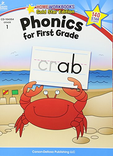 Phonics for First Grade, Grade 1: Gold Star Edition (Home Workbooks) cover