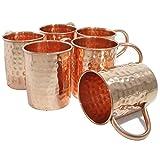 DakshCraft Large Copper Hammered Moscow Mule Mugs, Set of 6