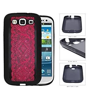 Black and Red Floral Lace Pattern Samsung Galaxy S3 I9300 Hard Silicone PC Cell Phone Case WANGJING JINDA