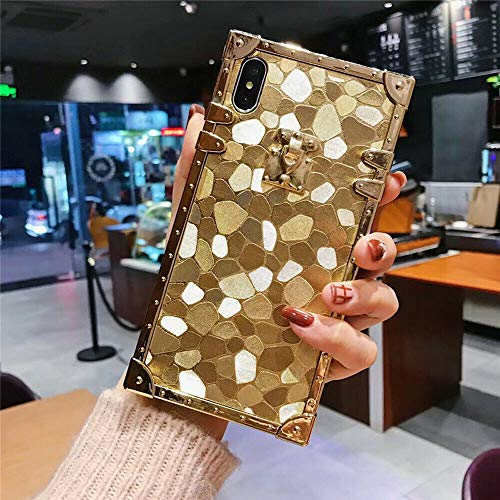 KAPADSON for iPhone 7 Plus/iPhone 8 Plus Newest Luxury Bling Glitter Skin Design TPU + Electroplate Edge Bumper Square Corner Back Protective Case Flexible Cover - Small Marble Gold