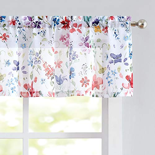 Print Valance Curtains for Kitchen Windows Linen-Like Floral Window Valance for Living Room Short Cotton-Like Kitchen Valances for Bathroom, 56