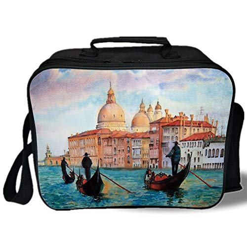 Insulated Lunch Bag,Venice,Watercolor Painting of Venice Serene Cityscape Antique Gondolas Scenic Decorative,Peach Light Blue Red,for Work/School/Picnic, Grey