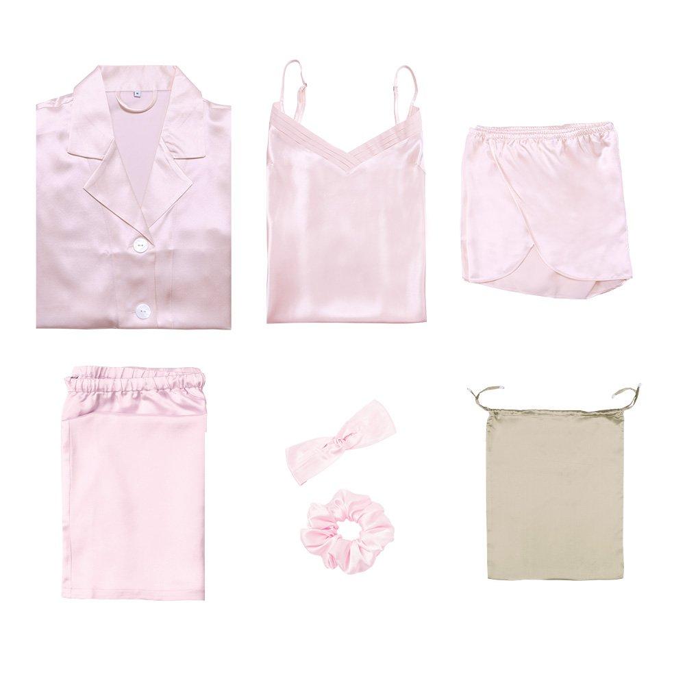 LilySilk Silk Women Pajama Sets 7pcs Hair Band and Hair Ties Short and Long Sets Sleepwear Ladies Light Pink XL/14-16 by LilySilk (Image #1)