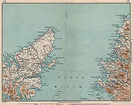 Amazon com: NORTH MINCH  Lewis  Highlands  Vintage map plan