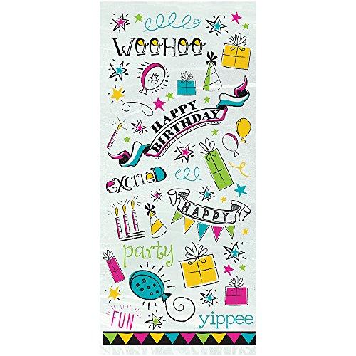 Doodle Happy Birthday Cellophane Bags, 20ct