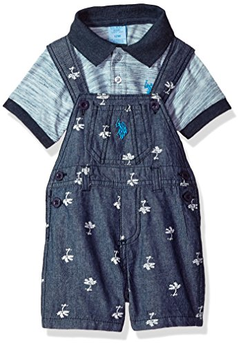 - U.S. Polo Assn. Baby Boys T-Shirt and Short Set, Blue Palm Trees Multi Plaid, 12M