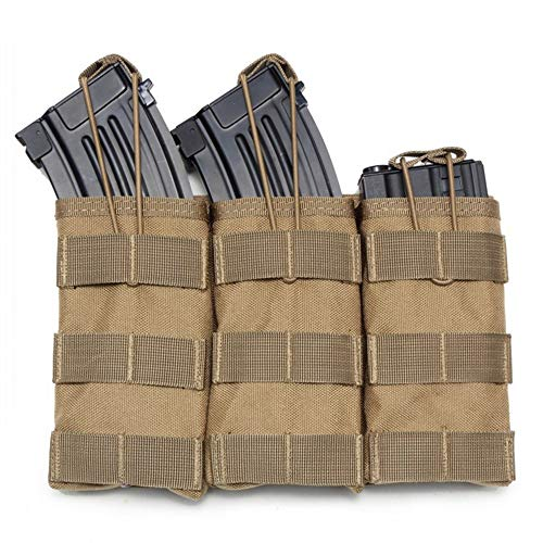TOPTIE Magazine Pouch, M4 M16 AR-15 Type Mag Pouch Mag Holder -Double/Triple Airsoft MOLLE-Triple Tan