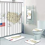 5-Piece Bathroom Set-Includes Shower Curtain Liner, Bathroom Rugs and Bath Towel,USA Detailed Map Topographic Contours Country and Land Names Roads Railways. Decorate The Bath