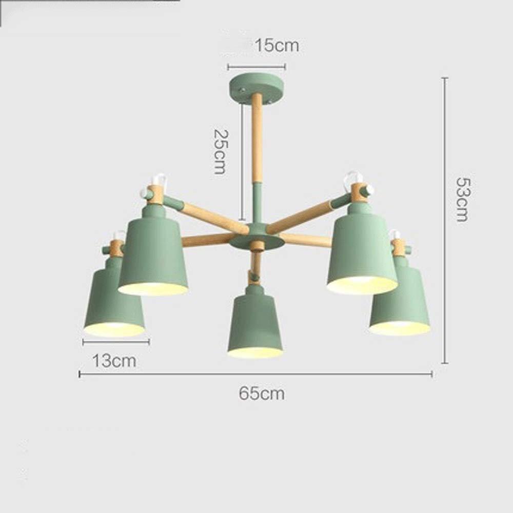 人格クリエイティブ北欧スタイルシンプルモダンソリッドウッドランプリビングルーム研究寝室ランプレストランシャンデリア (色 : 緑)  緑 B07S87T37T