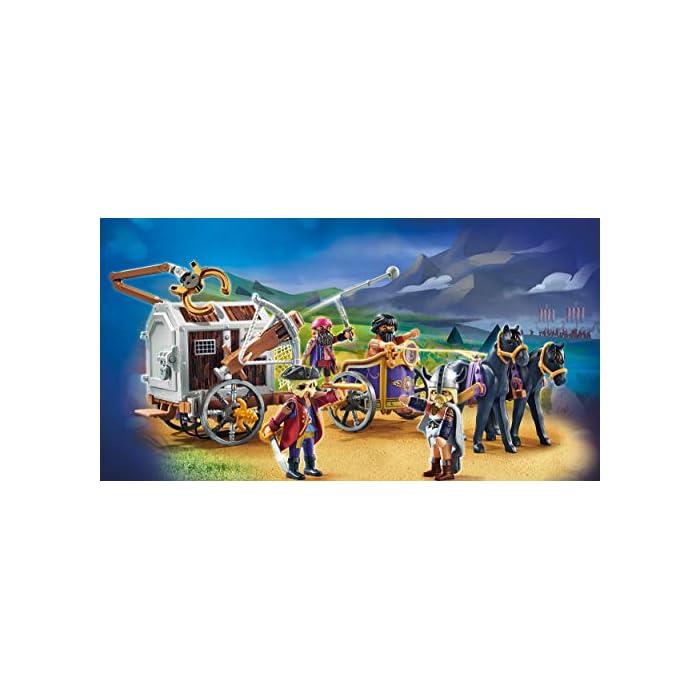 51z3 4FgIqL Diversión para los pequeños aficionados a la gran pantalla; PLAYMOBIL: THE MOVIE: Charlie con carro prisión, trampa y pasillo en la prisión para jugar Ballesta con función de disparo, puerta de prisión con cerradura, 4 figuras, carro con 2 caballos, etc., a juego con PLAYMOBIL: THE MOVIE Marla (70072) Juego de figuras para niños a partir de 5 años: óptimo para el tamaño de sus manos y bordes redondeados agradables al tacto