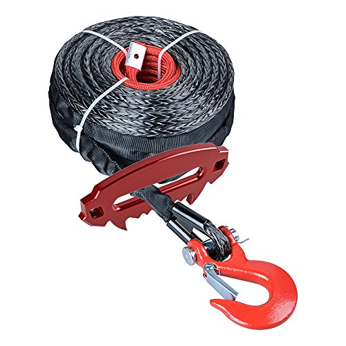 Rope Hook Spring (Astra Depot 92ft x 1/2 inch 22000LBs Synthetic Winch Rope Cable Heat Guard w/Red Winch Hook + Red Devil Angry Fury Alluminum 10 inch Hawse Fairlead ATV UTV Truck Boat KFI Ramsey 4x4 4DW)