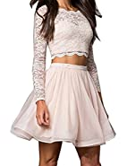 Ellenhouse Women's 2017 Two Pieces Long Sleeve Short Prom Homecoming Dresses