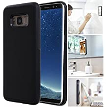 [ Monca ] Anti Gravity Cellphone Case [Black] Magical Nano Technology Stick to Glass, Whiteboards, Tile, Smooth Flat Surfaces (Galaxy S8 Plus)