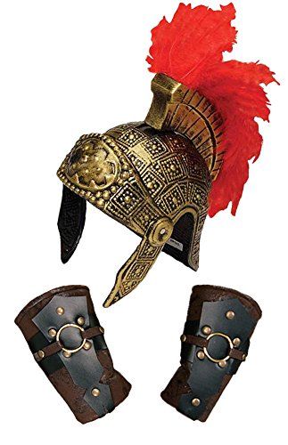 Roman Centurion Feather Crest Helmet & Arm Guards Costume -