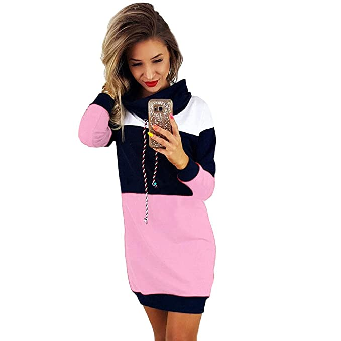 3c24983532 Women Turtleneck Collared Long Sleeve Sweater Dress Pullover
