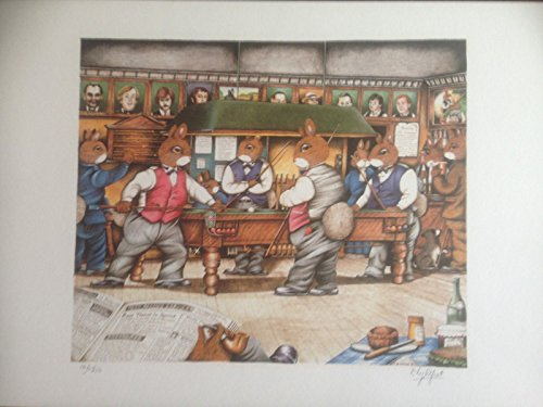 Bunny Rabbits Playing Snooker By Artist D Lightfoot Numbered Signed Ltd Edition ( Print Number 178 Of 350)