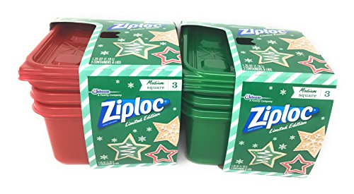 Ziploc Limited Edition Holiday Colored Storage Containers with Lids (Set of 2 Colors) Red and Green