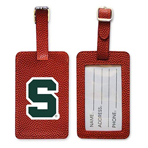 Zumer Sport Michigan State Spartans Basketball Leather Luggage Tag - Made from The Same Exact Materials as a Ball - Unique Design for Standing Out During Travel - ID Card Badge Slot - Orange ()