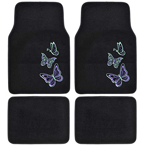 Carpet Car Floor Mats - Embossed Neon Purple & Green Butterflies on Black - 4pc Set for Car Van SUV Auto (Car Seat Covers Neon Green compare prices)