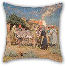 Loveloveu Throw Pillow Case Of Oil Painting Laurits Tuxen - Sun Drying Herrings 18 X 18 Inches / 45 By 45 Cm,best Fit For Indoor,him,divan,monther,kids Room,boy Friend Twice Sides