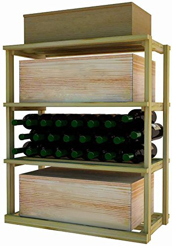 Designer Rectangular Bin - Wine Cellar Innovations DPI-LI-RBWC-A3 Designer Series Rectangular Bin/Wood Case Storage for below tabletop Wine Rack, Rustic Pine, Without Lacquer Finish, Light Stain