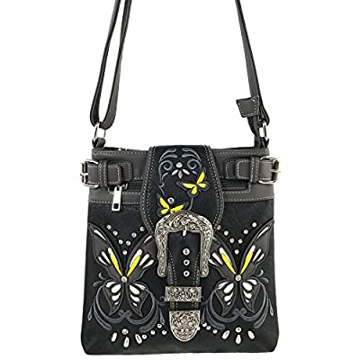 Justin West Floral Embroidery Butterfly Rhinestone Cross Stud Conceal Carry Handbag Purse