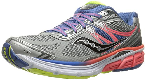 Saucony Women's Omni 14 Running Shoe, Silver/Blue/Coral, 7 M US